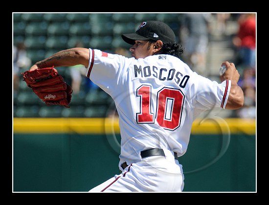Starting pitcher Guillermo Moscoso #10 went 6 innings and struck out 6 batters