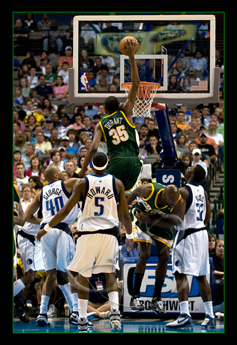 Seattle Sonics superstar Kevin Durant #35 goes up for one of his thunderous dunks.