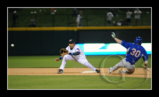 Frisco second baseman Guilder Rodriguez takes a throw for the out