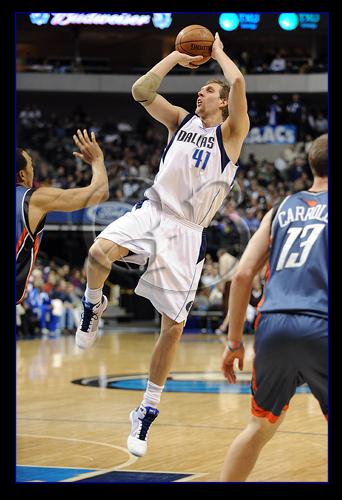 Dirk Nowitzki #41 and his signature fade away jumper