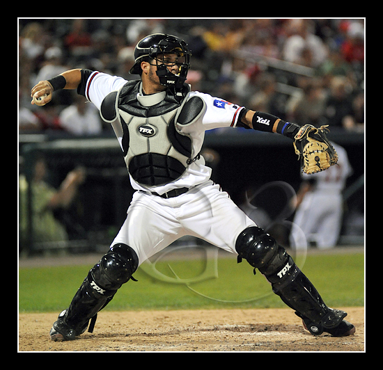 Frisco catcher Manny Pina #9 in action