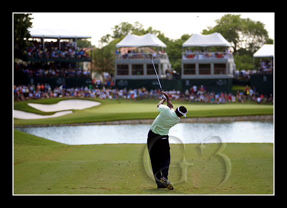 The Party Hole - Vijay Singh tees off at the 13th hole which seemed like the party hole as the crowd was so loud and noisy.