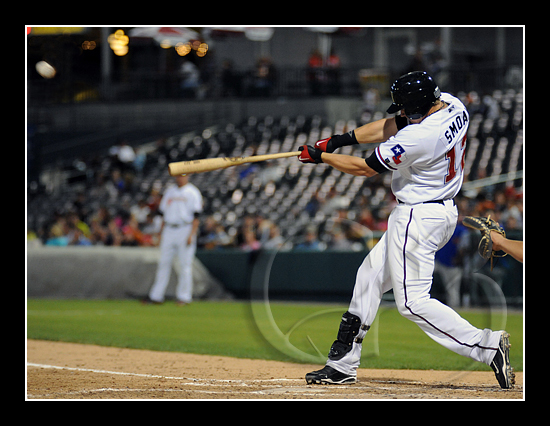 Frisco first baseman Justin Smoak #12 hits a shot off the top of the outfield wall