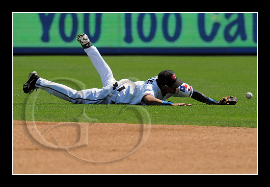 Frisco second baseman Guilder Rodriguez makes a diving attempt at a shot in the gap