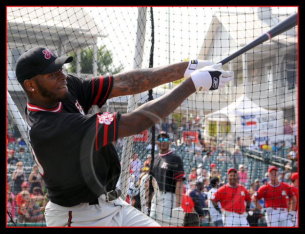 Dallas Cowboy Martellus 'Marty B' Bennett takes a break from rapping to participate in the home run derby and the baseball game.