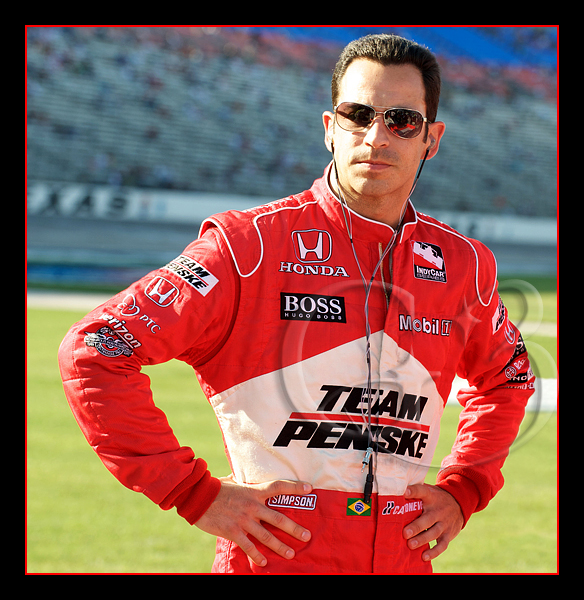 Team Penske driver Helio Castroneves on pit road before the qualifying round