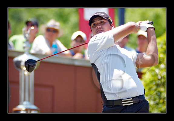22 year old Jason Day tees off at the 1st tee box