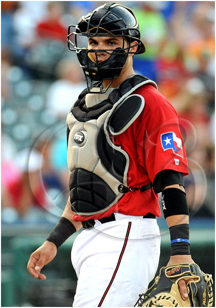 Frisco Roughriders catcher Manny Pina #9 starts behind the plate for the South Division