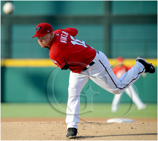 Frisco Roughriders starting pitcher Kasey Kiker #18 throws on the mound during the MiLB Texas League All-Star Game