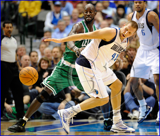 Dallas Mavericks v Boston Celtics Dirk Nowitzki and Kevin Garnett