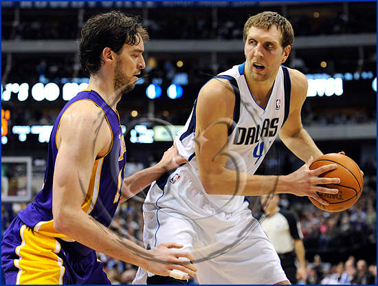 Dallas Mavericks v Los Angeles Lakers Dirk Nowitzki and Pao Gasol
