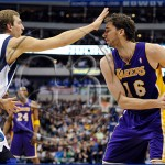 Dallas Mavericks v Los Angeles Lakers Dirk Nowitzki and Pau Gasol