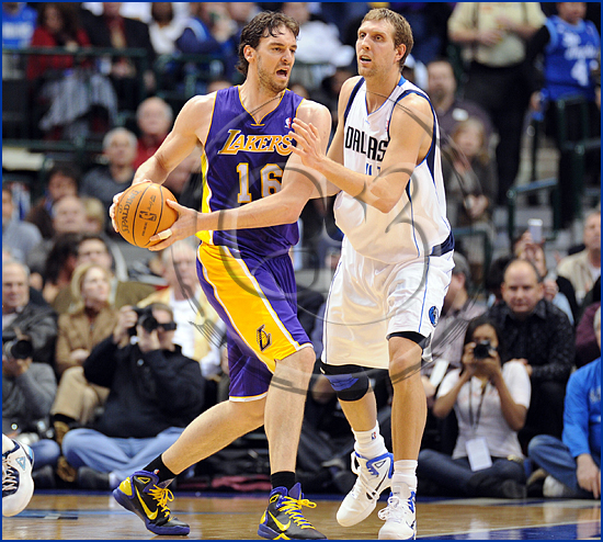 Dallas Mavericks v Los Angeles Lakers Dirk Nowitzki and Pau Gasol