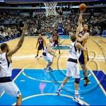 Dallas Mavericks v Los Angeles Lakers - Pau Gasol shoots over Dirk Nowitzki
