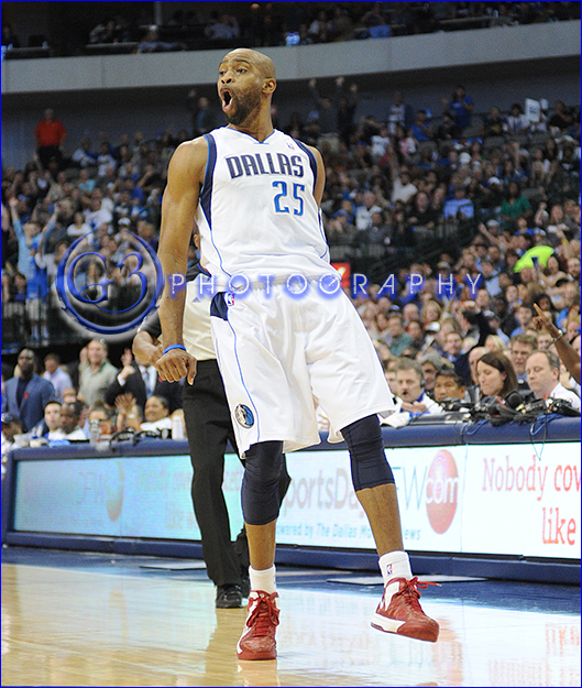 Dec 01, 2012:  Dallas Mavericks shooting guard Vince Carter #25 celebrates making a three pointer late in the game